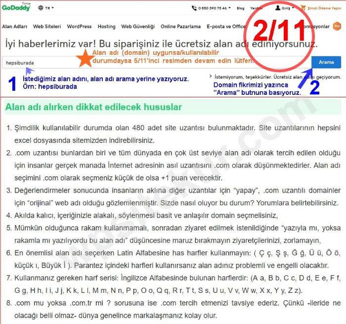 Domain Seçimi GoDaddy Site Kurma İndirimli Ucuz Domain