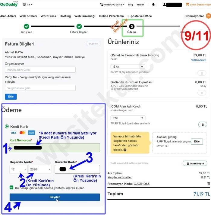 Godaddy Ödeme ile 1 Dolar Domain Al Ücretsiz Alan Adı