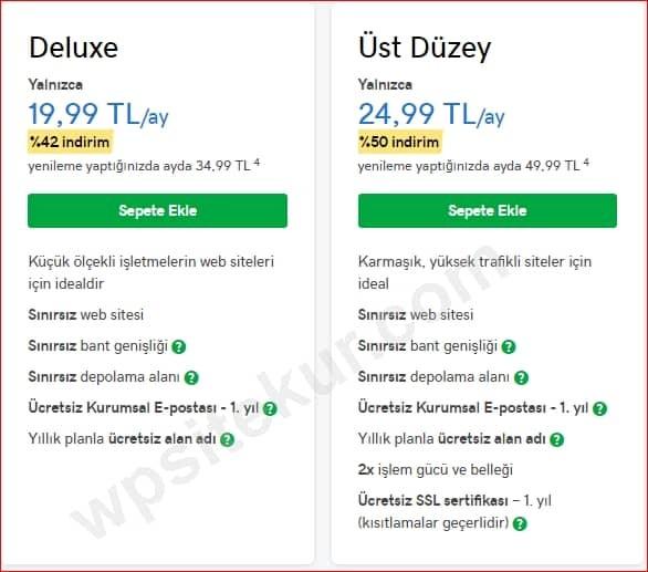 GoDaddy WordPress Kurulumu için gerekli Paketler Deluxe ve Üst Düzey Paketleri