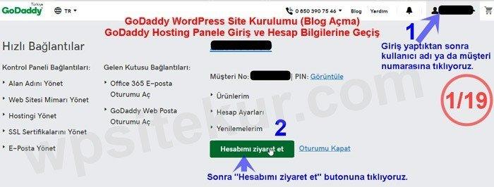 Blog Açma - Site Kurma GoDaddy Giriş Ekranı
