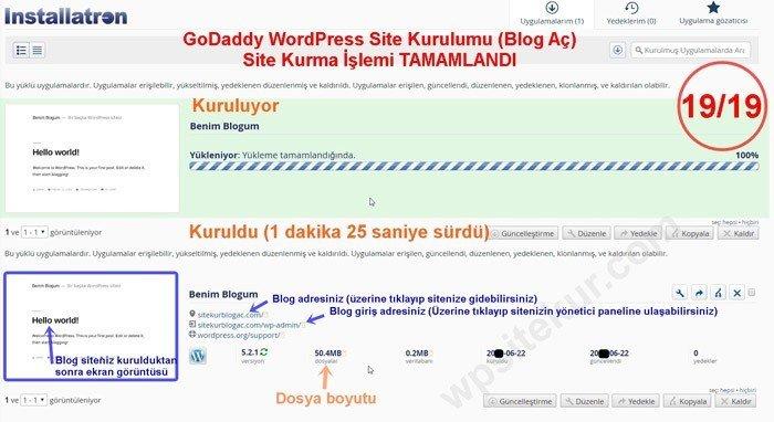 GoDaddy Cpanel Üzerinde gerçekleştirdiğimiz blog açma ve site yapma işlemi tamamlandı.