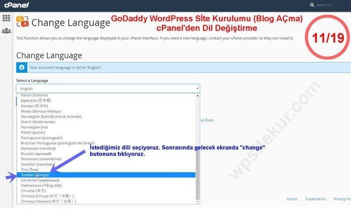 GoDaddy Cpanel Dilini Türkçe Yapma