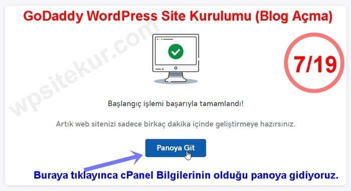 Web Sitesi Kurmak İçin Başlangıç Adımları tamamlandı