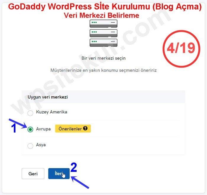 GoDaddy WordPress Kurulumu - Veri Merkezi Seçimi