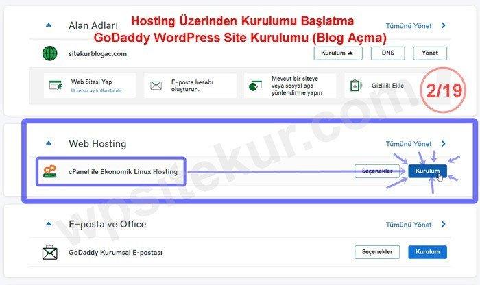 Blog Aç - Site Kurma faaliyeti için hosting yönet butonu