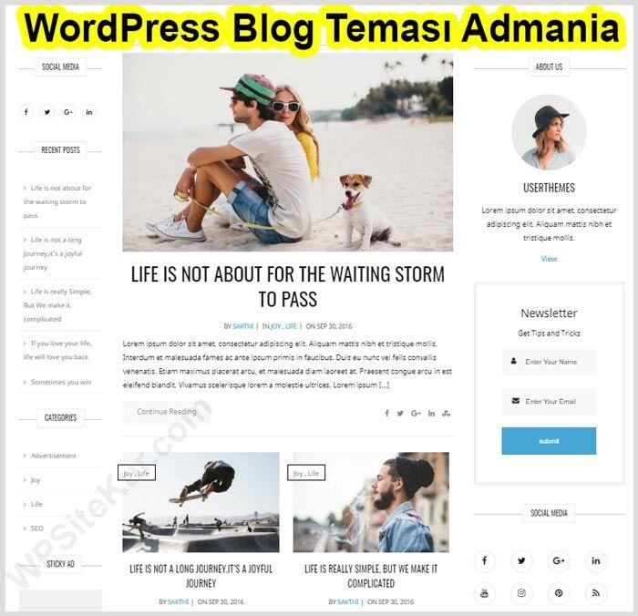 WordPress Blog Teması Admania