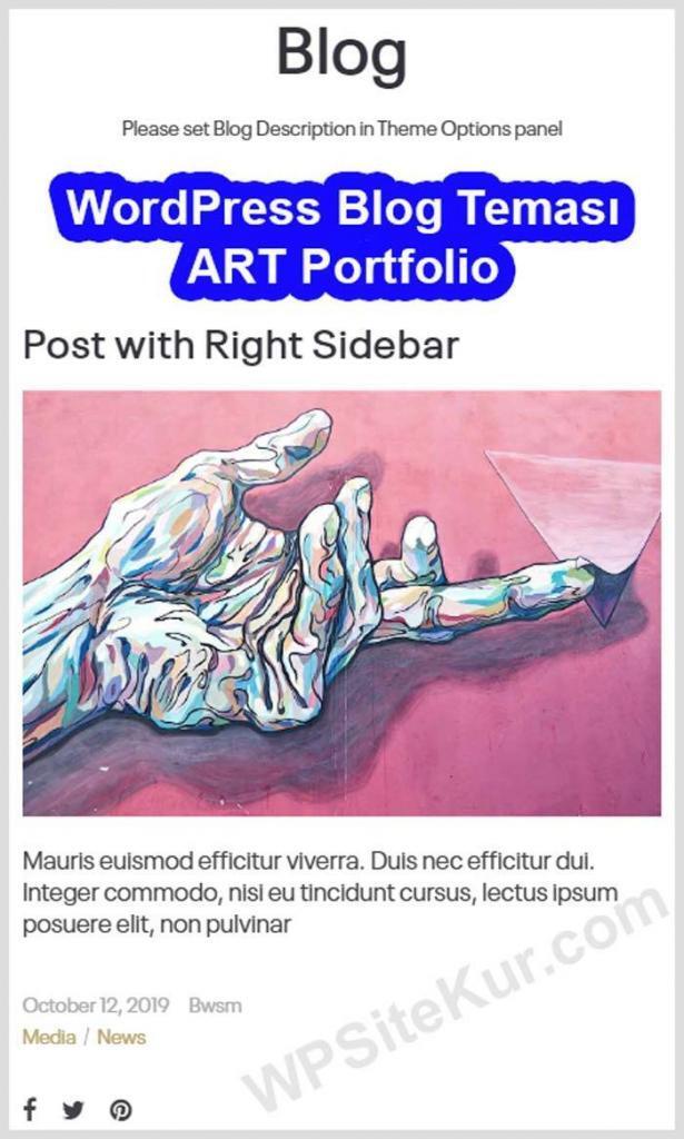 Ücretli WP Blog Teması ART