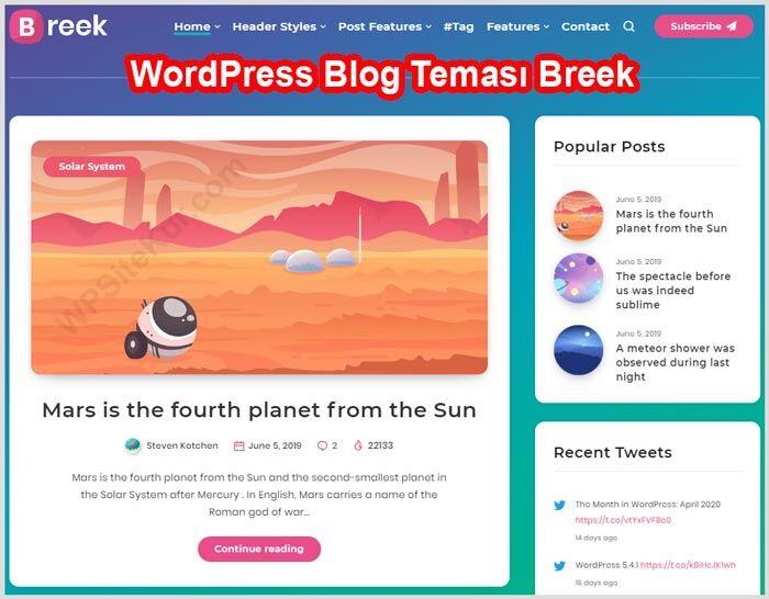 WordPress Kişisel Blog Teması – Ücretli Premium Breek