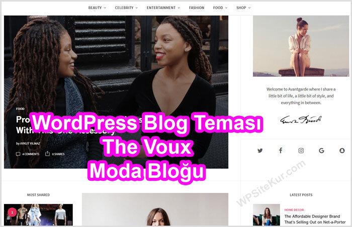 WordPress Blog Teması Ücretli Premium The Voux