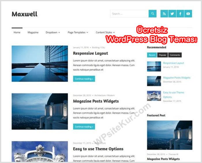 WordPress Kişisel Blog Teması Maxwell