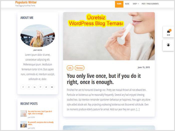 WordPress Blog Temaları Popularis Writer