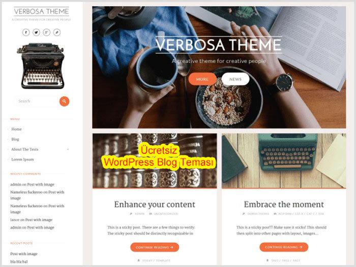 WordPress Kişisel Blog Teması Verbosa