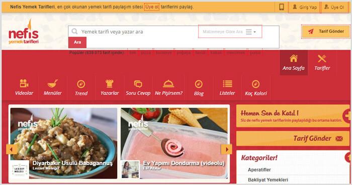Nefis Yemek Tarifleri WordPress programı ile yapılmıştır.