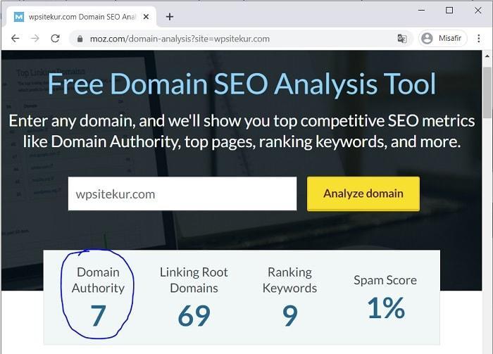 wpsitekur.com sitesini; MOZ'un Domain Authority (alan adi yetkisi) Analiz Sonucu