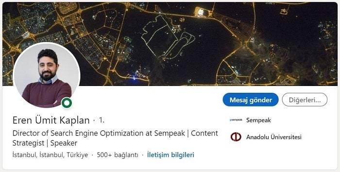 Arama Motoru Optimizasyonu (SEO) Uzmanı Eren Ümit Kaplan