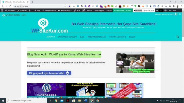 WordPress Nedir - WPSiteKur anasayfa görüntüsü. Bu site WP ile kuruldu.