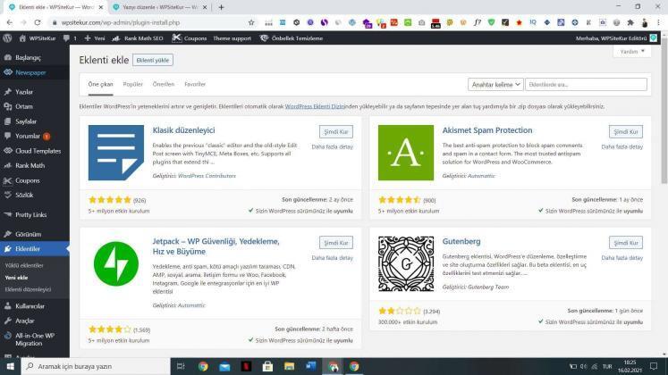 WordPress nedir - WPSiteKur eklenti yükleme yeri (Yoast SEO vb.)